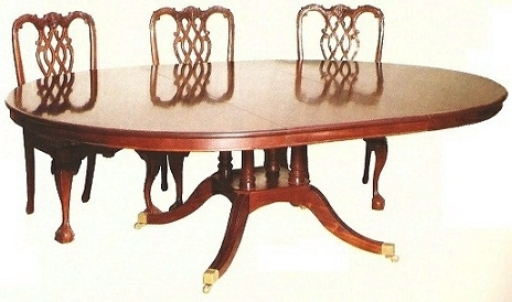 Quad Base Regency Table with Round Top - Solid Mahogany