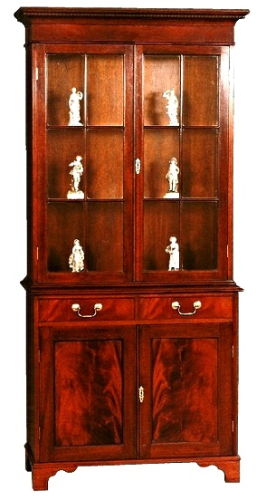 Two Door Regency Display Cabinet - Solid Mahogany