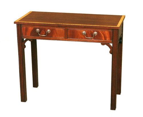 Chippendale Side Table with Drawers - Solid Mahogany