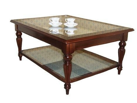 Victorian Coffee Table with Glass Insert and Shelf
