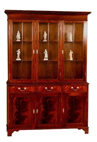 Regency Three Door Display Cabinet - Solid Mahogany