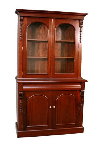 Victorian Two Door Display Cabinet - Solid Mahogany